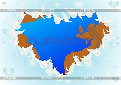 Weltkarte und Tauben | Stock Vektorgrafik |ID 3105414