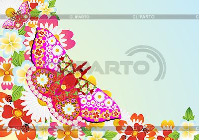 Kwiaty i motyle | Klipart wektorowy |ID 3105492
