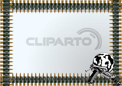 Helm mit Gewehr und Rahmen von Munitionsgurten | Stock Vektorgrafik |ID 3112820