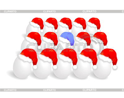 Weihnachtsmütze auf den Eiern   Stock Vektorgrafik  ID 3083068