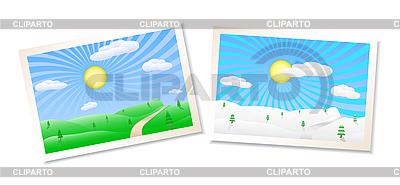冬季和夏季的风景 | 向量插图 |ID 3087078