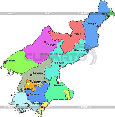 Korea Północna map | Klipart wektorowy |ID 3087118