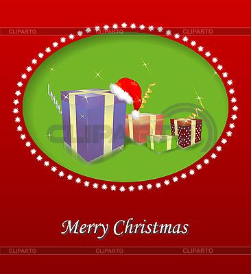 선물 상자 메리 크리스마스 카드 | 벡터 클립 아트 |ID 3092503
