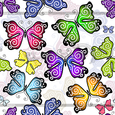 Nahtloses Muster mit Schmetterlingen | Stock Vektorgrafik |ID 3128395