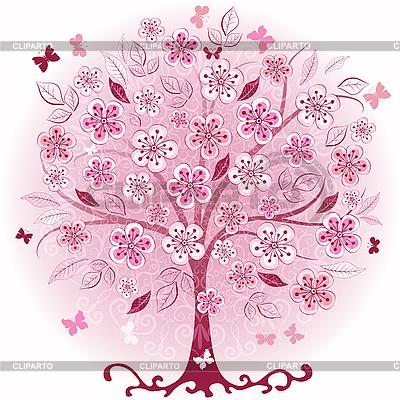 핑크 장식 봄 나무 | 벡터 클립 아트 |ID 3193449