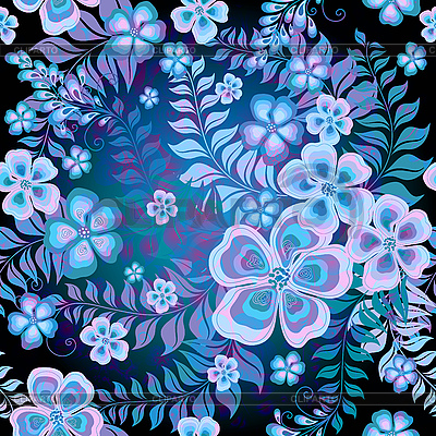 Dunkles nahtloses Blumenmuster | Illustration mit hoher Auflösung |ID 3211384
