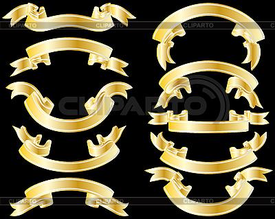 Złote wstążki | Klipart wektorowy |ID 3087972