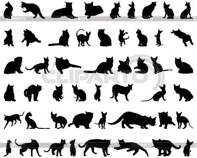 Набор силуэтов кошек | Векторный клипарт |ID 3088992