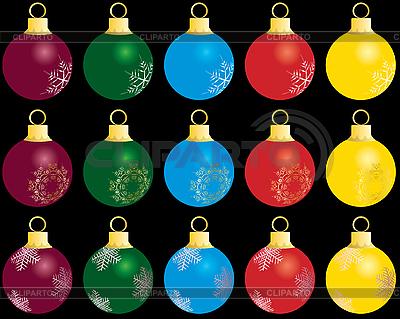 Набор новогодних шаров | Векторный клипарт |ID 3089024