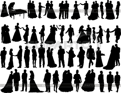Hochzeits-Silhouetten | Stock Vektorgrafik |ID 3089194