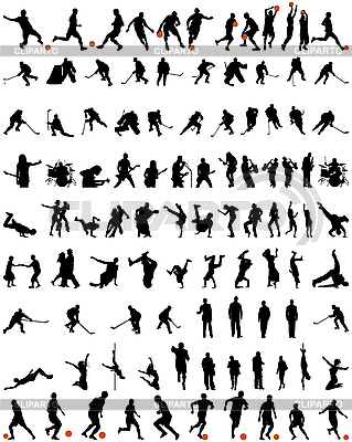 Taniec i sport sylwetki zestaw | Klipart wektorowy |ID 3178032