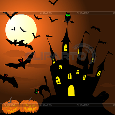 Szczęśliwa karta halloween | Klipart wektorowy |ID 3369101