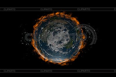 Flat Earth planety wewnątrz gwiazd i ognia | Stockowa ilustracja wysokiej rozdzielczości |ID 3083007