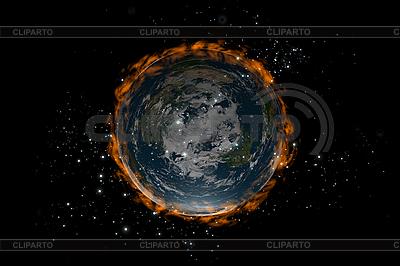 Flat Earth planety wewnątrz gwiazd i ognia | Stockowa ilustracja wysokiej rozdzielczości |ID 3083008