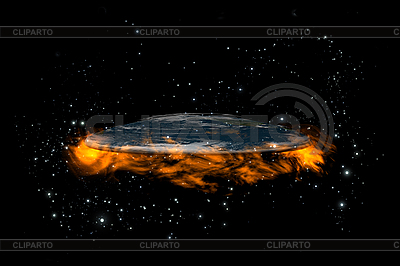 Плоская Земля посреди звезд и огня | Иллюстрация большого размера |ID 3083010
