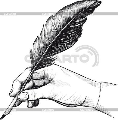 Rysunek dłoni z piór pióra | Klipart wektorowy |ID 3083088