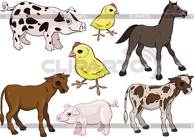 Dziecko zestaw zwierzęta gospodarskie | Klipart wektorowy |ID 3305073