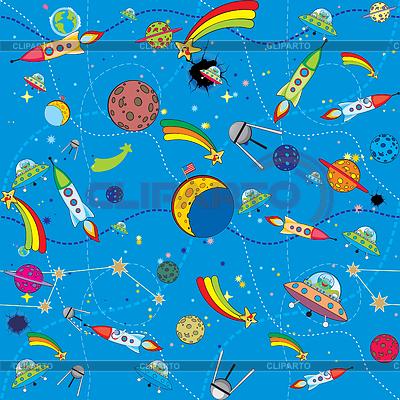 Podobny obszar tła z rakiet i planety | Klipart wektorowy |ID 3305113