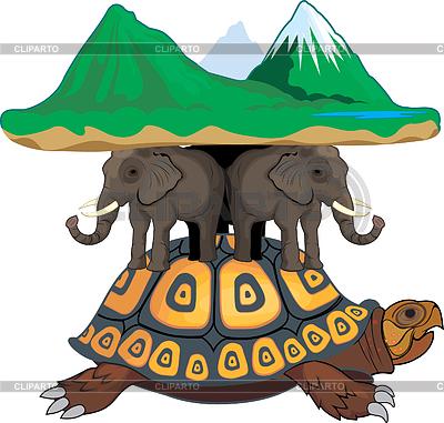 Schildkröte und Elefanten halten die Welt | Stock Vektorgrafik |ID 3305165