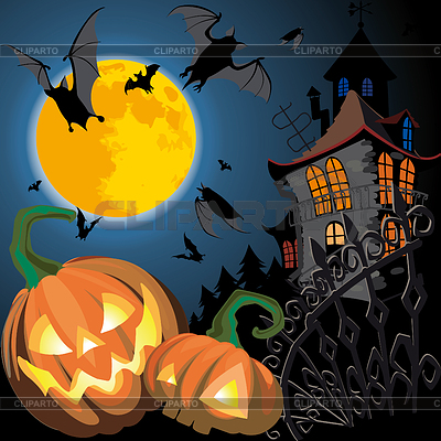 Открытка на Хеллоуин с тыквами | Векторный клипарт |ID 3305183