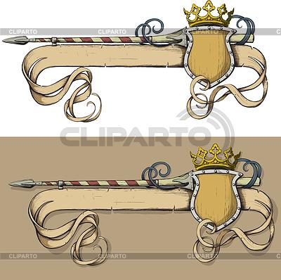 Włócznia Banner Kolor i korony | Klipart wektorowy |ID 3305193