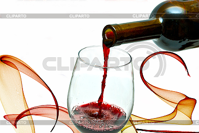 Красное вино льется из бутылки вина | Фото большого размера |ID 3083549