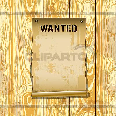 Poster Wanted auf Holzplanken | Illustration mit hoher Auflösung |ID 3109056