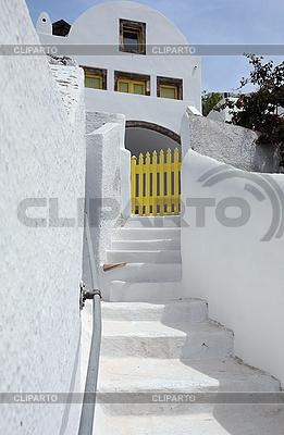 Weißes Haus im Dorf Pyrgos | Foto mit hoher Auflösung |ID 3106126