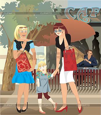 Mädchen vor Schaufenstern | Stock Vektorgrafik |ID 3094363