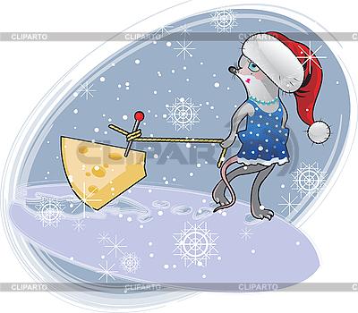 Weihnachts-Maus mit Käse | Stock Vektorgrafik |ID 3102904