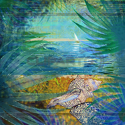Tropischer Hintergrund mit Muscheln | Illustration mit hoher Auflösung |ID 3162456