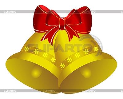 Zwei golden Weihnachtsglöckchen | Stock Vektorgrafik |ID 3083989