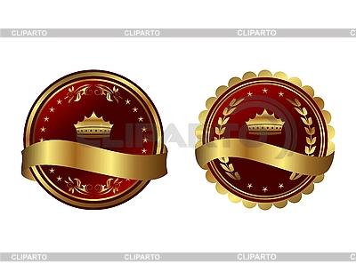 Dwie czerwone wrobił złota etykiet | Klipart wektorowy |ID 3083995