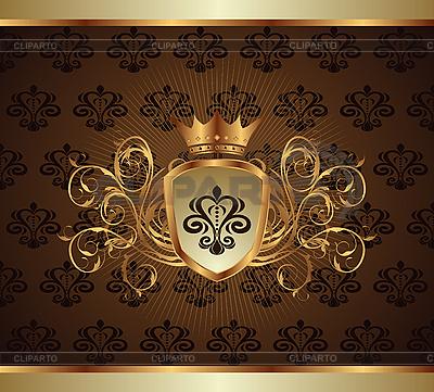 Goldene Einladung mit Rahmen | Stock Vektorgrafik |ID 3085317