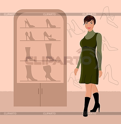 Fashion girl shopping in Schuhgeschäft | Stock Vektorgrafik |ID 3086598