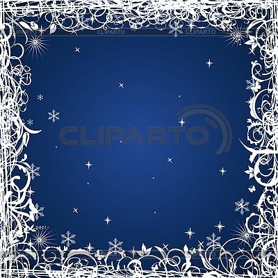 Niebieski kwiatowy Christmas frame | Klipart wektorowy |ID 3086997