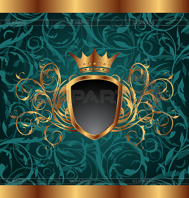 Goldener Vintage-Rahmen mit heraldischen Elementen | Stock Vektorgrafik |ID 3331847