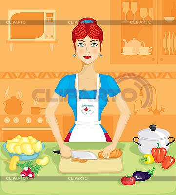 Frau in der Küche | Stock Vektorgrafik |ID 3127906