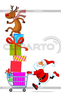Santa z koszyka pełnego prezentów | Klipart wektorowy |ID 3098203