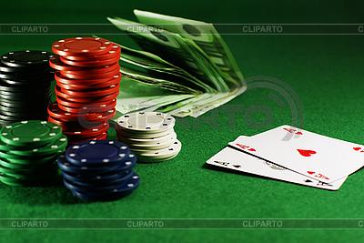 Zwei Asse auf dem grünen Tisch | Foto mit hoher Auflösung |ID 3091798