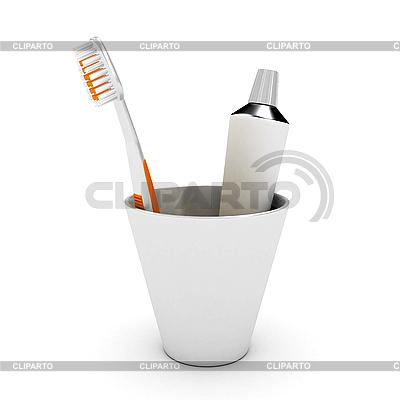 Zahnbürste und Paste | Illustration mit hoher Auflösung |ID 3091675