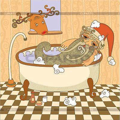 Weihnachtsmann im Badezimmer | Stock Vektorgrafik |ID 3092994