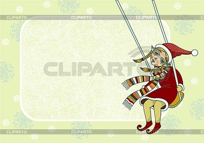 Weihnachts-Rahmen mit Mädchen-Elfe | Stock Vektorgrafik |ID 3093020