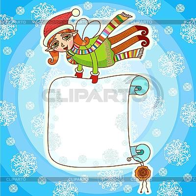 Weihnachts-Elf mit Plakatt | Stock Vektorgrafik |ID 3093022