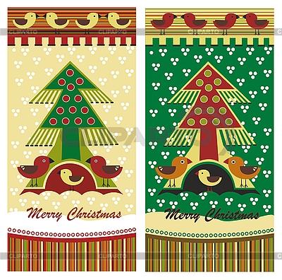 Рождественские открытки с елкой и птичками | Векторный клипарт |ID 3093034