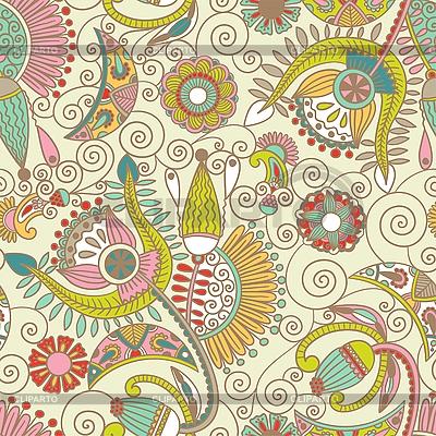 无缝艺术花朵图案 | 向量插图 |ID 3093735