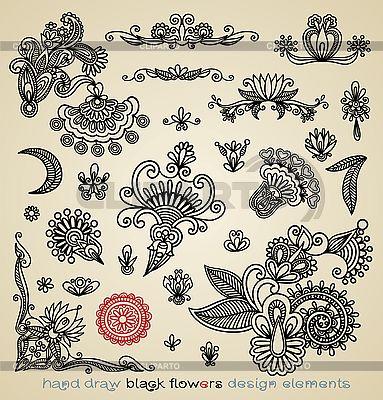 Zestaw czarny wzory kwiatowe | Klipart wektorowy |ID 3094713