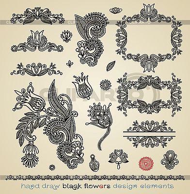 Schwarze Blumenmuster und Rahmen | Stock Vektorgrafik |ID 3094715
