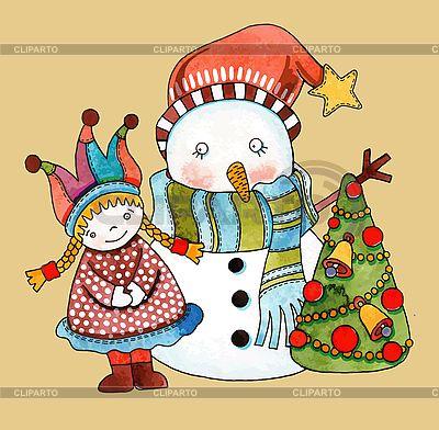 Schneemann mit Mädchen und Weihnachtsbaum | Stock Vektorgrafik |ID 3101445