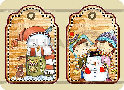Tagi Boże Narodzenie z śniegowy szczęśliwy | Klipart wektorowy |ID 3101449